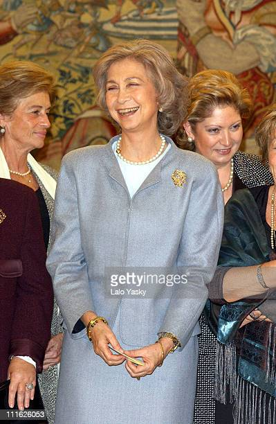Queen Sofia of Spain meets with wives of Spanish military leaders at Zarzuela Palace