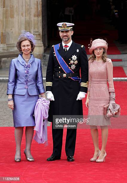 Queen Sofia of Spain Prince Felipe of Asturias and Princess Letizia of Asturias arrive to attend the Royal Wedding of Prince William to Catherine...