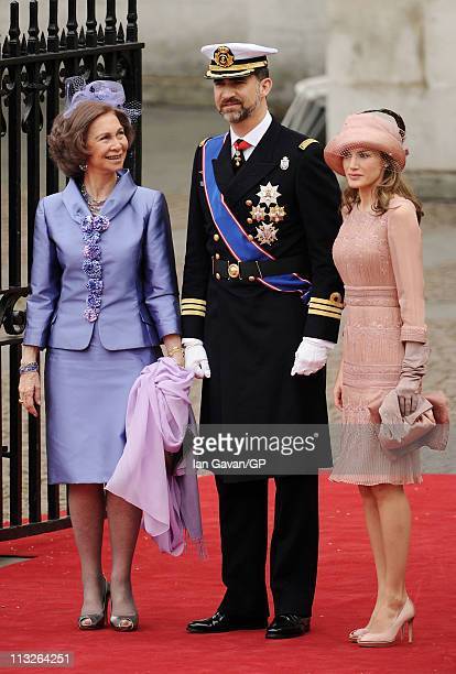 Queen Sofia of Spain Prince Felipe of Spain and Princess Letizia of Spain arrive to attend the Royal Wedding of Prince William to Catherine Middleton...