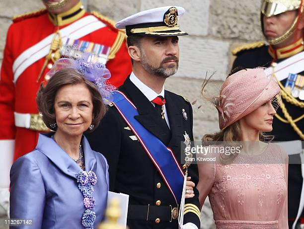 Queen Sofia of Spain Prince Felipe of Spain and Princess Letizia of Spain depart for a procession to Buckingham Palace following the marriage of...