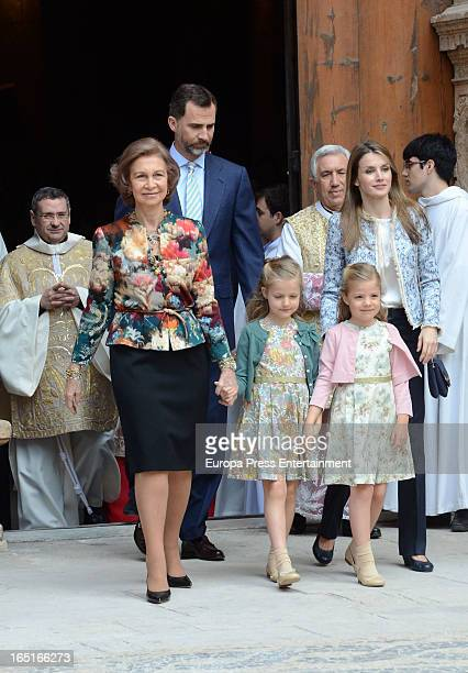 Queen Sofia of Spain Prince Felipe of Spain Princess Leonor Princess Sofia and Princess Letizia of Spain attend Easter Mass at the Cathedral of Palma...