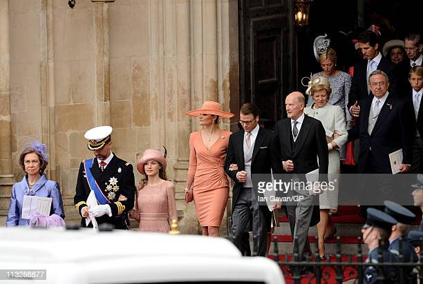 Queen Sofia of Spain Prince Felipe of Spain Princess Letizia of Spain Princess Victoria of Sweden and Prince Daniel of Sweden exit Westminster Abbey...