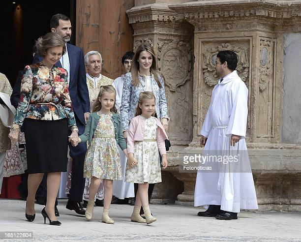 Queen Sofia of Spain Prince Felipe of Spain Princess Letizia of Spain and her daughters Princess Leonor and Princess Sofia attend Easter Mass at The...
