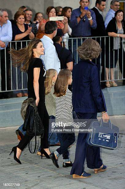 Queen Sofia of Spain Prince Felipe of Spain Princess Letizia of Spain and their daughters Princess Leonor of Spain and Princess Sofia of Spain visit...