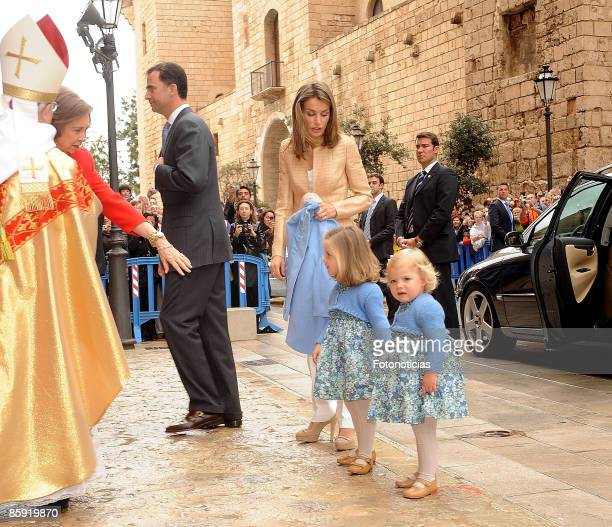 Queen Sofia of Spain Prince Felipe of Spain Princess Letizia of Spain Princess Leonor and Princess Sofia attend Easter Mass at Palma de Mallorca...