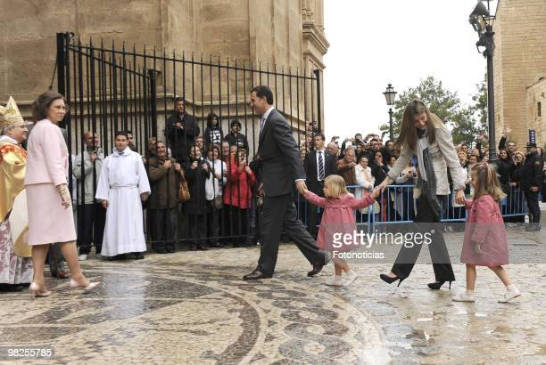 Queen Sofia of Spain Prince Felipe of Spain Princess Sofia of Spain Princess Letizia of Spain and Princess Leonor of Spain attend Easter Mass at...