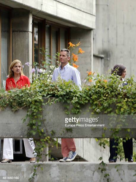 Queen Sofia of Spain Princess Cristina of Spain L and Inaki Urdangarin are seen on June 23 2014 in Geneva Switzerland