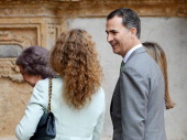 Queen Sofia of Spain Princess Elena of Spain and Prince Felipe of Spain attend Easter Mass at the Cathedral of Palma de Mallorca on April 20 2014 in...