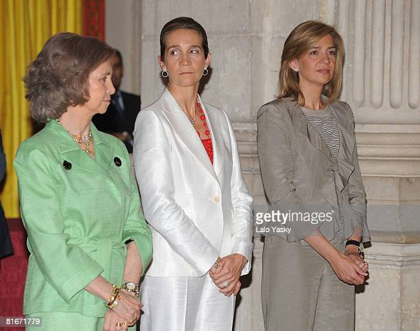 Queen Sofia of Spain Princess Elena of Spain and Princess Cristina of Spain attend the National Sports Awards ceremony held at The Royal Palace on...