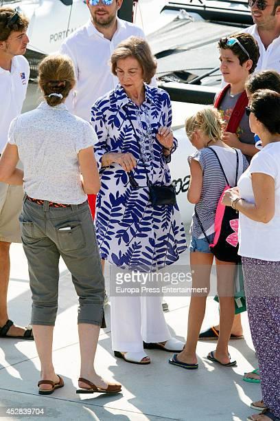 Queen Sofia of Spain Princess Elena of Spain Felipe Juan Froilan de Marichalar Irene Urdangarin are seen on July 28 2014 in Palma de Mallorca Spain