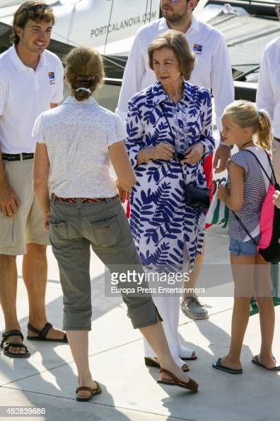 Queen Sofia of Spain Princess Elena of Spain Irene Urdangarin are seen on July 28 2014 in Palma de Mallorca Spain