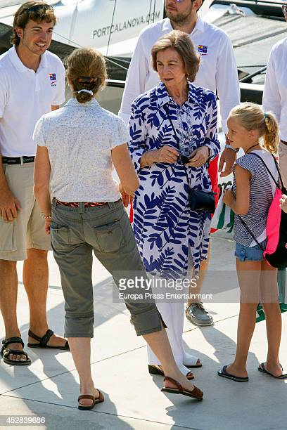 Queen Sofia of Spain Princess Elena of Spain Irene Urdangarin are seen on July 28 2014 in Palma de Mallorca Spain