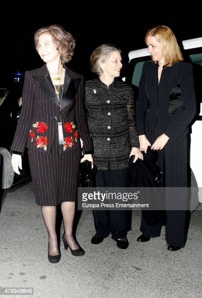 Queen Sofia of Spain Princess Irene of Greece and Princess Cristina of Spain attend a screening of a documentary about King Paul I of Greece on March...