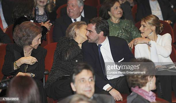 Queen Sofia of Spain Princess Irene of Greece Prince Nikolaos Of Greece and Princess Tatiana of Greece attend a screening of a documentary about King...