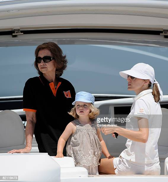 Queen Sofia of Spain Princess Letizia of Spain and daughter Princess Leonor of Spain on board the yacht 'Somni' during the 27th Copa del Rey Mapfre...