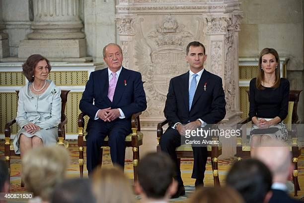 Queen Sofia of Spain Princess Sofia of Spain Prince Felipe of Spain Princess Leonor of Spain King Juan Carlos of Spain and Princess Letizia of Spain...