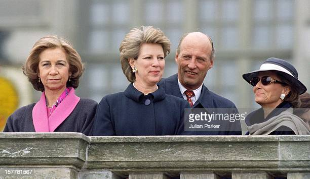 Queen Sofia Of Spain Queen Anne Marie Of Greece King Harald Queen Sonja Of Norway During The Celebrations For King Carl Gustav Of Sweden'S 50Th...