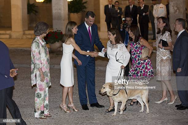 Queen Sofia of Spain Queen Letizia of Spain and King Felipe VI of Spain attend reception on August 7 2014 in Palma de Mallorca Spain