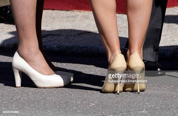 Queen Sofia of Spain receives Angelica Rivera at El Pardo Palace on June 9 2014 in Madrid Spain