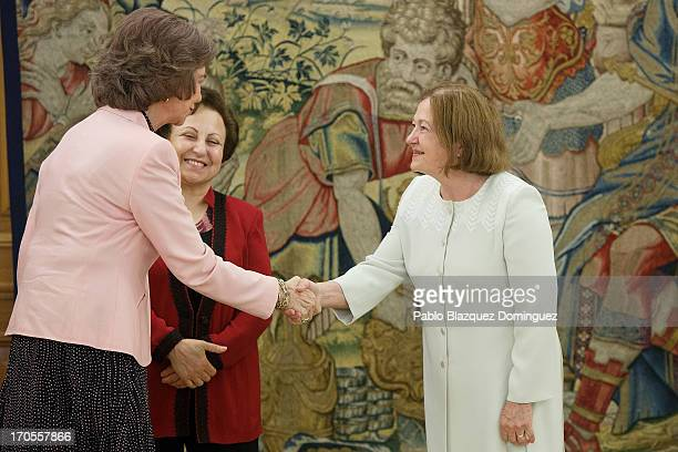 Queen Sofia of Spain receives Nobel Peace Laureates Shirin Ebadi and Mairead Maguire at Zarzuela Palace on June 14 2013 in Madrid Spain