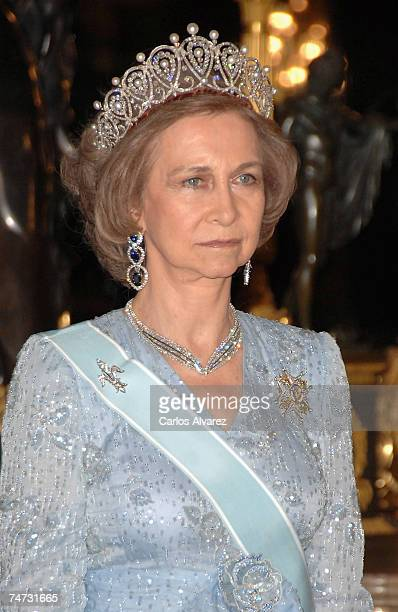Queen Sofia of Spain receives Saudi King Abdullah Bin Abdul Aziz Al Saud for a Gala dinner on June 18 2007 at Royal Palace in Madrid Spain