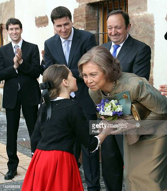 Queen Sofia of Spain receives some flowers prior to the inauguration of the Royal Cloths Factory of Ezcaray on April 26 2012 in La Rioja Spain