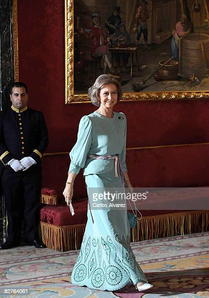 Queen Sofia of Spain receives the President of Costa Rica Oscar Arias during his tour of Europe on September 10 2008 at the Royal Palace in Madrid...