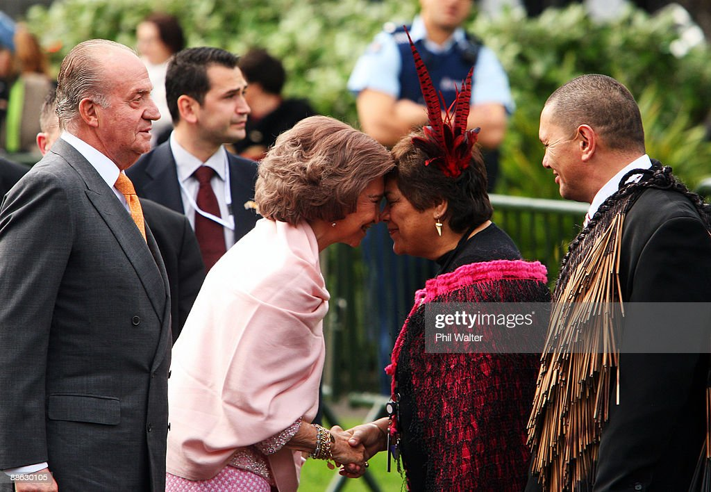 Queen Sofia of Spain (L) shares a traditional Maori greeting of a hongi with Maori elder Rose Tahuparae (R) during a visit to New Zealand on June 23, 2009 in Wellington, New Zealand. The Royal couple are undertaking two days of official engagements in New Zealand before heading to Australia on Wednesday.