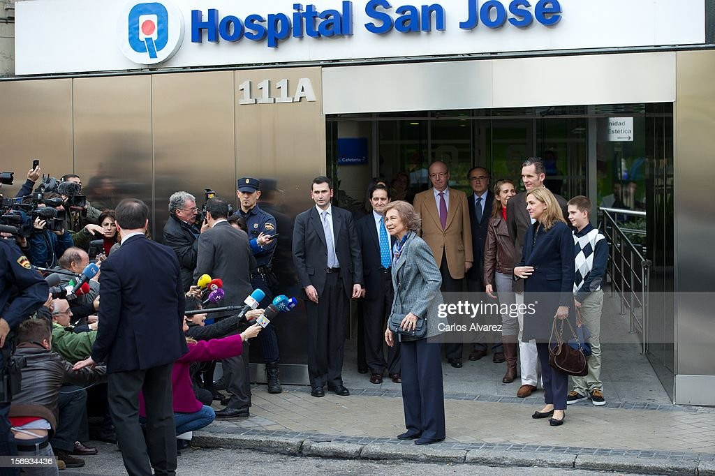 <a gi-track='captionPersonalityLinkClicked' href=/galleries/search?phrase=Queen+Sofia+of+Spain&family=editorial&specificpeople=160333 ng-click='$event.stopPropagation()'>Queen Sofia of Spain</a> (C) talks to media after visiting King Juan Carlos of Spain at USP San Jose Hospital on November 25, 2012 in Madrid, Spain. King Juan Carlos of Spain underwent an operation on his left hip.