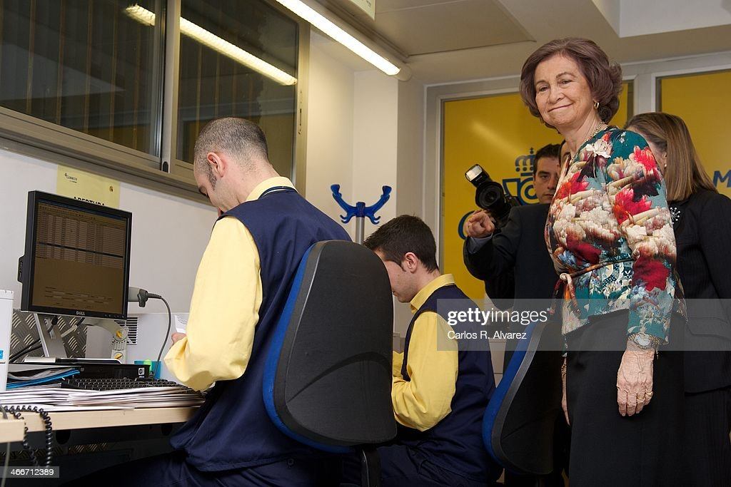 Queen Sofia of Spain visits 'Correos' postal service facilities on February 3 2014 in Madrid Spain