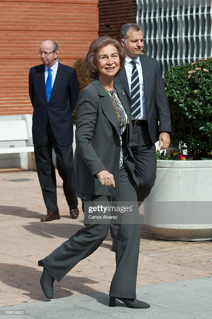 <a gi-track='captionPersonalityLinkClicked' href=/galleries/search?phrase=Queen+Sofia+of+Spain&family=editorial&specificpeople=160333 ng-click='$event.stopPropagation()'>Queen Sofia of Spain</a> visits King Juan Carlos of Spain at La Milagrosa Hospital on March 3, 2013 in Madrid, Spain. King Juan Carlos of Spain goes under surgery for a lower back disc hernia at La Milagrosa Hospital on March 3, 2013 in Madrid, Spain. He had hip surgery last November. The King has had several other health issues in the past two years, including knee surgery and the removal of a benign lung tumor.