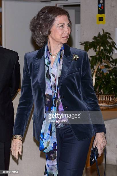 Queen Sofia of Spain visits 'Reina Sofia Alzheimer Foundation Center' on February 19 2015 in Madrid Spain