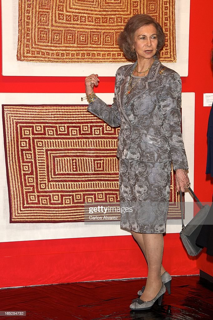 Queen Sofia of Spain visits the 'Grandes Maestros del Arte Popular de Iberoamerica' exhibition at the Fernan Gomez Teather on April 2, 2013 in Madrid, Spain.