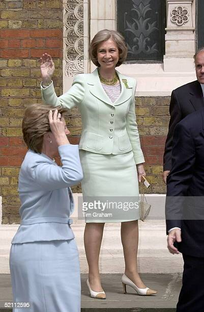 Queen Sofia Of Spain Waving At The Christening Of The Newest Member Of The Greek Royal Family Achileas Andraes Third Child Of Crown Prince And Crown...