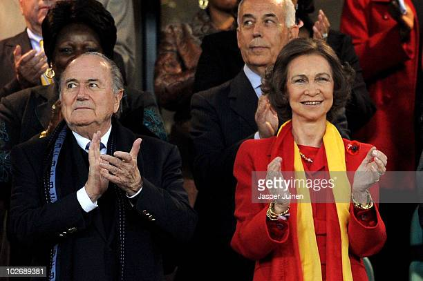 Queen Sofia of Spain with FIFA President Joseph Sepp Blatter ahead of the 2010 FIFA World Cup South Africa Semi Final match between Germany and Spain...