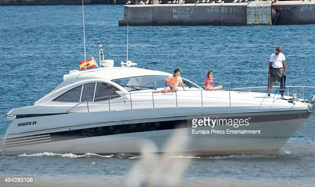 Queen Sofia of Spain's grandchildren Felipe Juan Froilan and Victoria Federica are sighted on August 6 2014 in Palma de Mallorca Spain