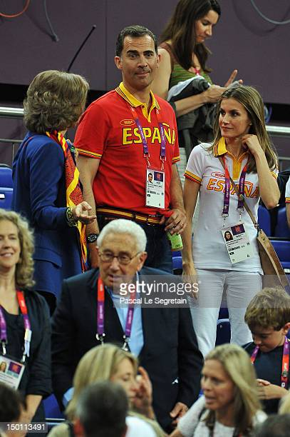 Queen Sofia Prince Felipe and Princess Letizia of Spain attend the Men's Basketball semifinal match between Spain and Russia on Day 14 of the London...