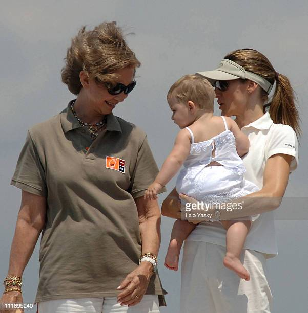 Queen Sofia Princess Letizia and daughter Leonor during Spanish Royals Sighting in Palma de Mallorca at Yacht Fortuna in Palma de Mallorca Spain