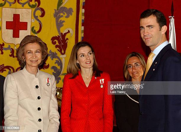 Queen Sofia Princess Letizia and Prince Felipe during Red Cross Fundraising Campaign 2004 Launch at Spanish Parliament in Madrid Spain