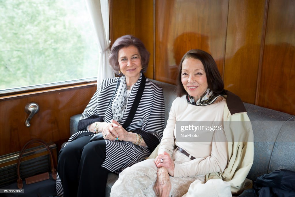 Queen Sofia Spanish and Queen Margarita Bulgarian in the royal train on the way to Cherepish Monastery for the Birthday of King Simeon II of Bulgaria, June 17th, 2017