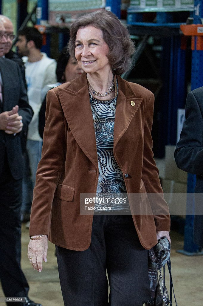 Queen Sofia visits a Food Bank on November 25, 2015 in Madrid, Spain.