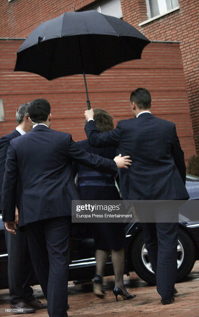 Queen Sofia visits King Juan Carlos of Spain at La Milagrosa Hospital on March 4, 2013 in Madrid, Spain. King Juan Carlos of Spain went under surgery for a lower back disc hernia yesterday. He also had hip surgery last November. The King has had several other health issues in the past two years, including knee surgery and the removal of a benign lung tumor.