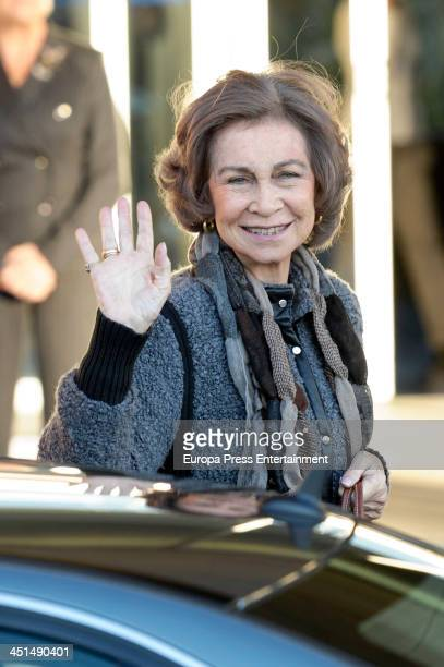 Queen Sofia visits King Juan Carlos of Spain at the Quiron University Hospital on November 22 2013 in Pozuelo de Alarcon Spain The Spanish King...