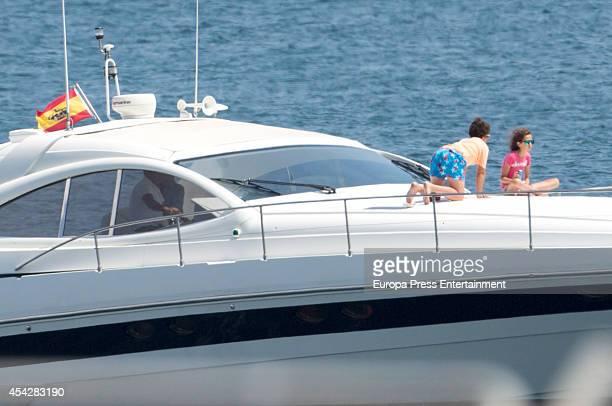 Queen Sofia's grandchildren Felipe Juan Froilan and Victoria Federica are sighted on August 6 2014 in Palma de Mallorca Spain