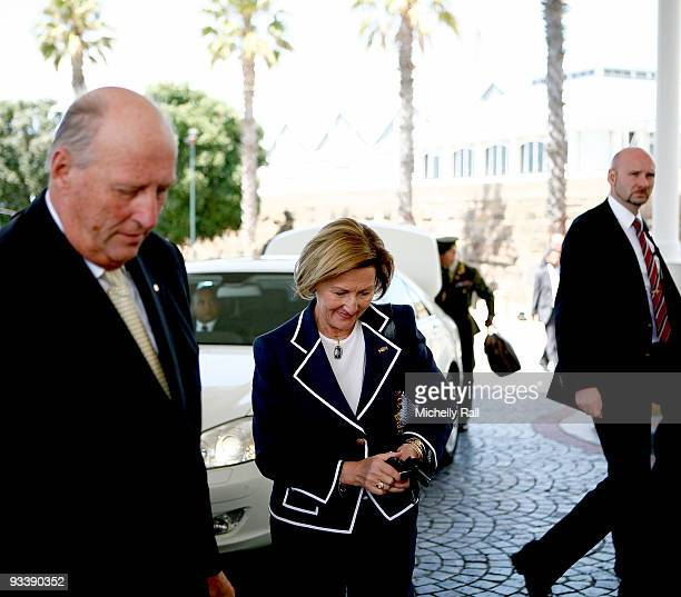Queen Sonja and King Harald V of Norway arrive at the Table Bay Hotel during their State Visit on November 25 2009 in Cape Town South Africa