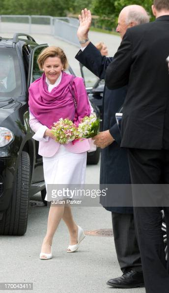 Queen Sonja and King Harald V of Norway on the last day of a three day visit to the county of Sor Trondelag visit the municipality of Bjugn on June 6...