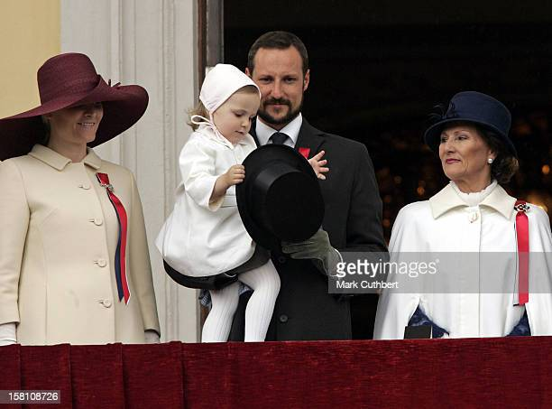 Queen Sonja Crown Prince Haakon Crown Princess MetteMarit Princess Ingrid Alexandra Attend The Norway National Day Celebrations On The Balcony Of The...