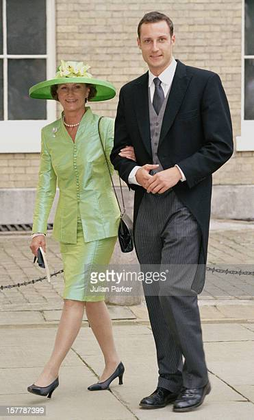 Queen Sonja Crown Prince Haakon Of Norway Attend The Wedding Of Princess Alexia Of Greece And Carlos Morales Quintana At The St Sophia Cathedral In...