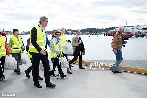 Queen Sonja of Norway and Crown Princess MetteMarit of Norway meet Sandefjord Waste Clearing Team on April 19 2016 in Sandefjord Norway