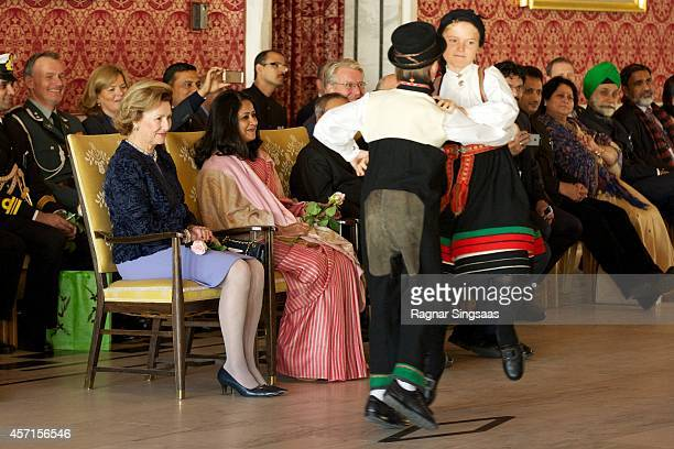 Queen Sonja of Norway and daughter of the President of India Sharmistha Mukherjee attend a guided tour at the Oslo City Hall during the first day of...